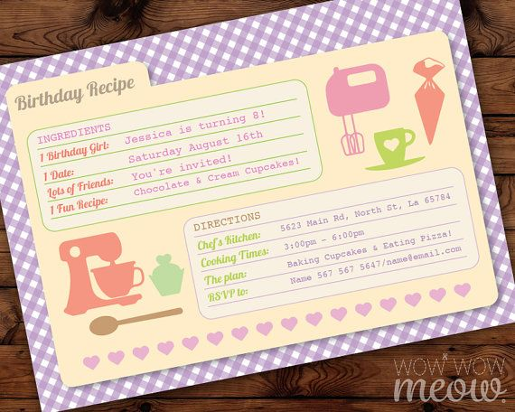 Recipe card birthday party cookie bake invitation by wowwowmeow recipe card birthday party cookie bake invitation by wowwowmeow stopboris Choice Image