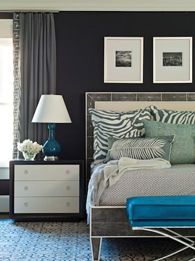 Inspiration Deeper Gray Wall Color White End Table Cream Headboard Light Bedding With Pops Of Teal