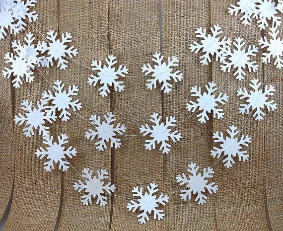 Simple Snowflake Garland 10ft  ///////  by BeeBuzzPaperie on Etsy, $12.50