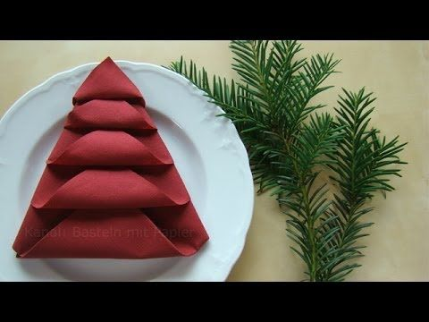 Tischdeko weihnachten basteln mit kindern  Servietten falten - Tischdeko für Weihnachten - Weihnachtsdeko ...