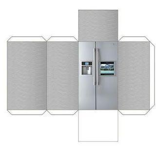 Papercraft recortable de un frigorífico moderno pa