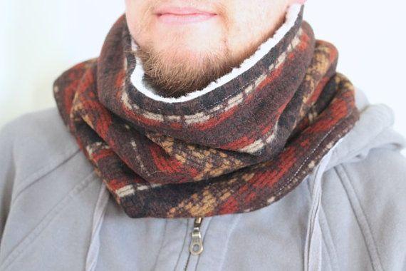 Cowl Neckwarmer Wool Fleece Lined Tribal Pattern by nicolecarey