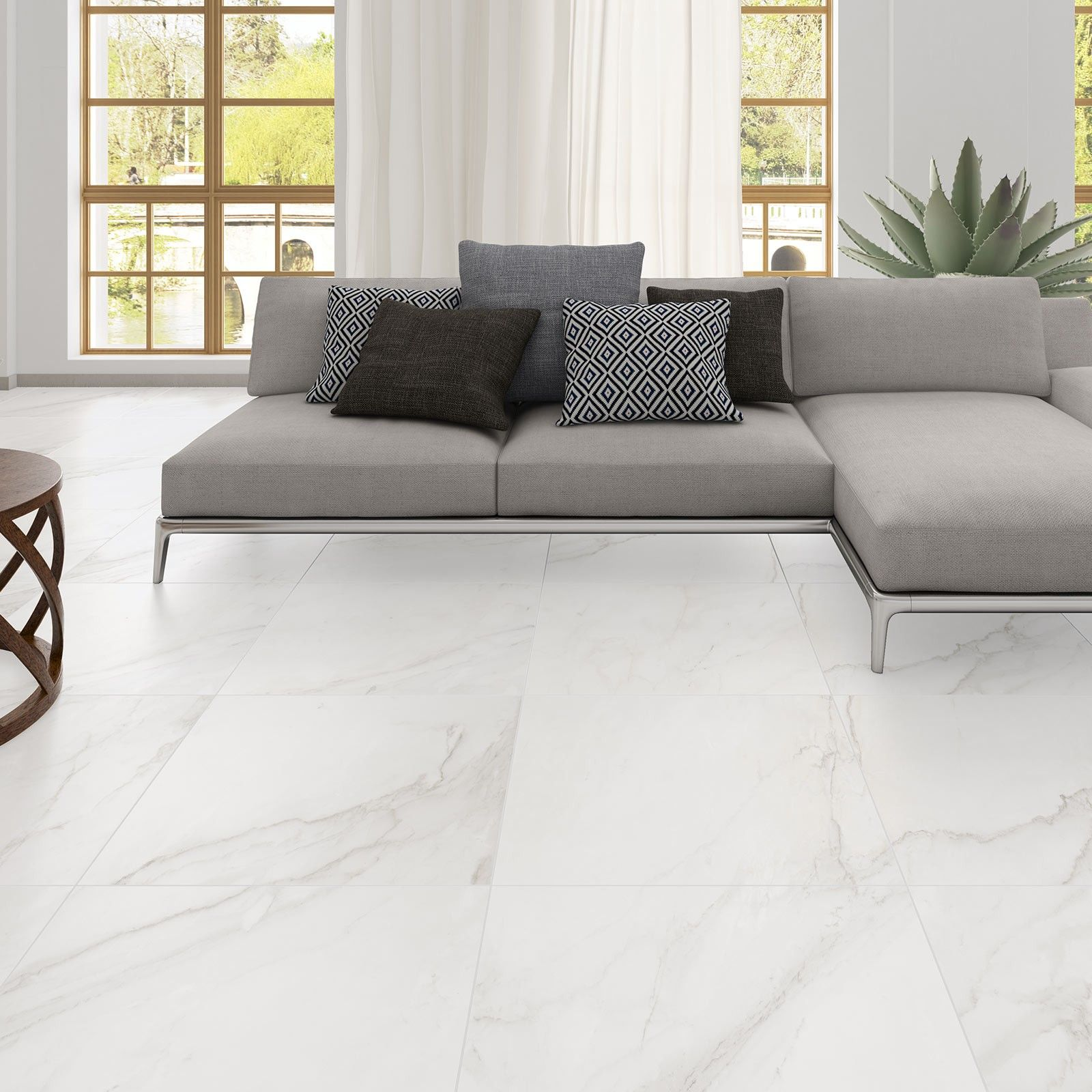 Building a stylish living room is simpler than you think white porcelain floor tile is fired at extremely high temperatures harder and stronger than ceramic tile and easy to clean as bathroom tile designs dailygadgetfo Gallery