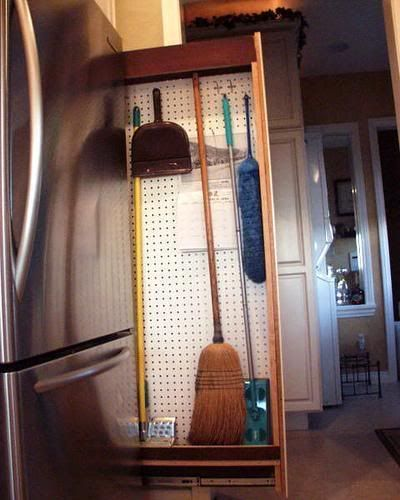 Side Of Fridge Pull Out Broom Closet Broom Storage Broom