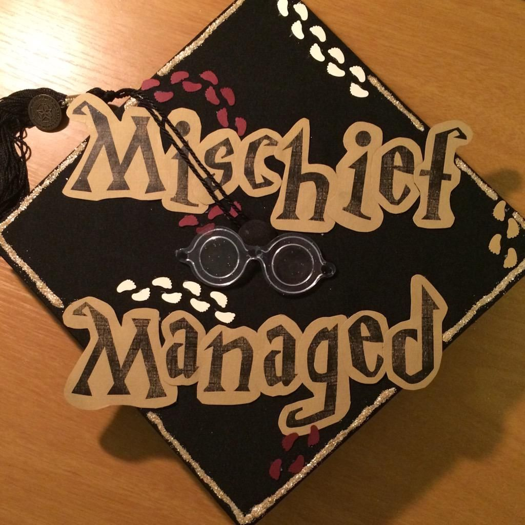 Andrea Richardson On Twitter Harry Potter Classroom Grad Cap Mischief Managed
