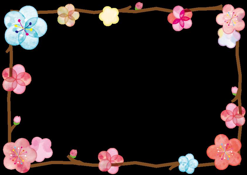 冬におすすめの商用利用可能な無料フレーム 枠素材 フラワーカード 花 フレーム 梅の花 イラスト