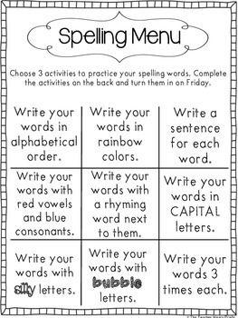 Photo of Spelling Words Menu
