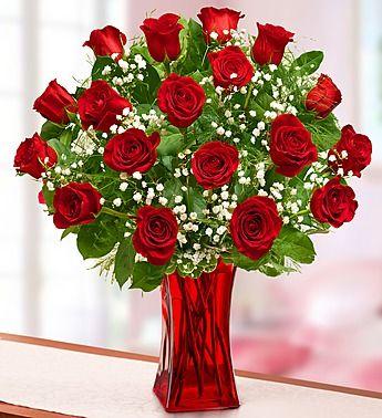 Blooming Love Premium Red Roses In Red Vase From 1 800 Flowers Com In 2020 Fresh Flowers Online Flower Gift Valentines Flowers