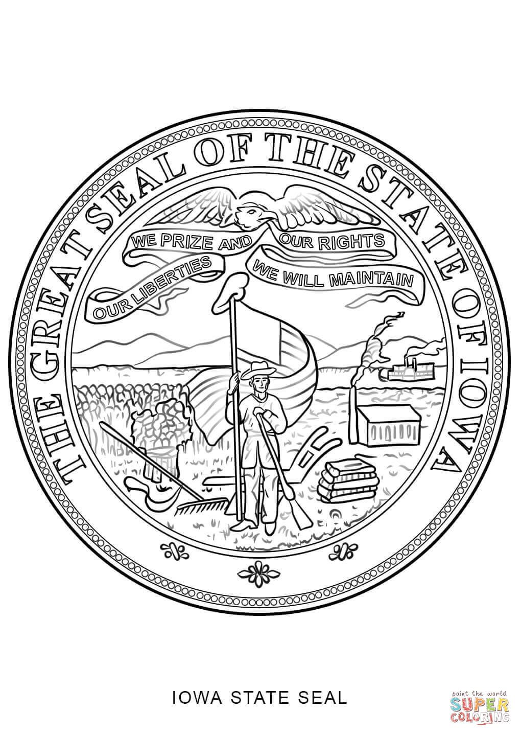 Click The Iowa State Seal Coloring Pages To View Printable Version
