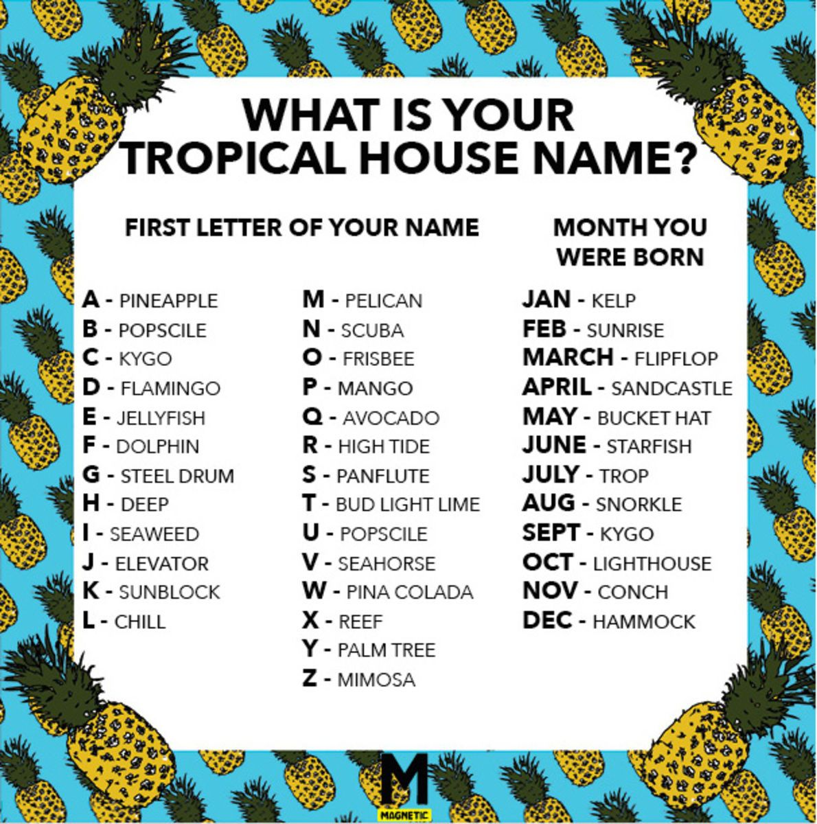 We Made You A Tropical House Name Generator - Magnetic