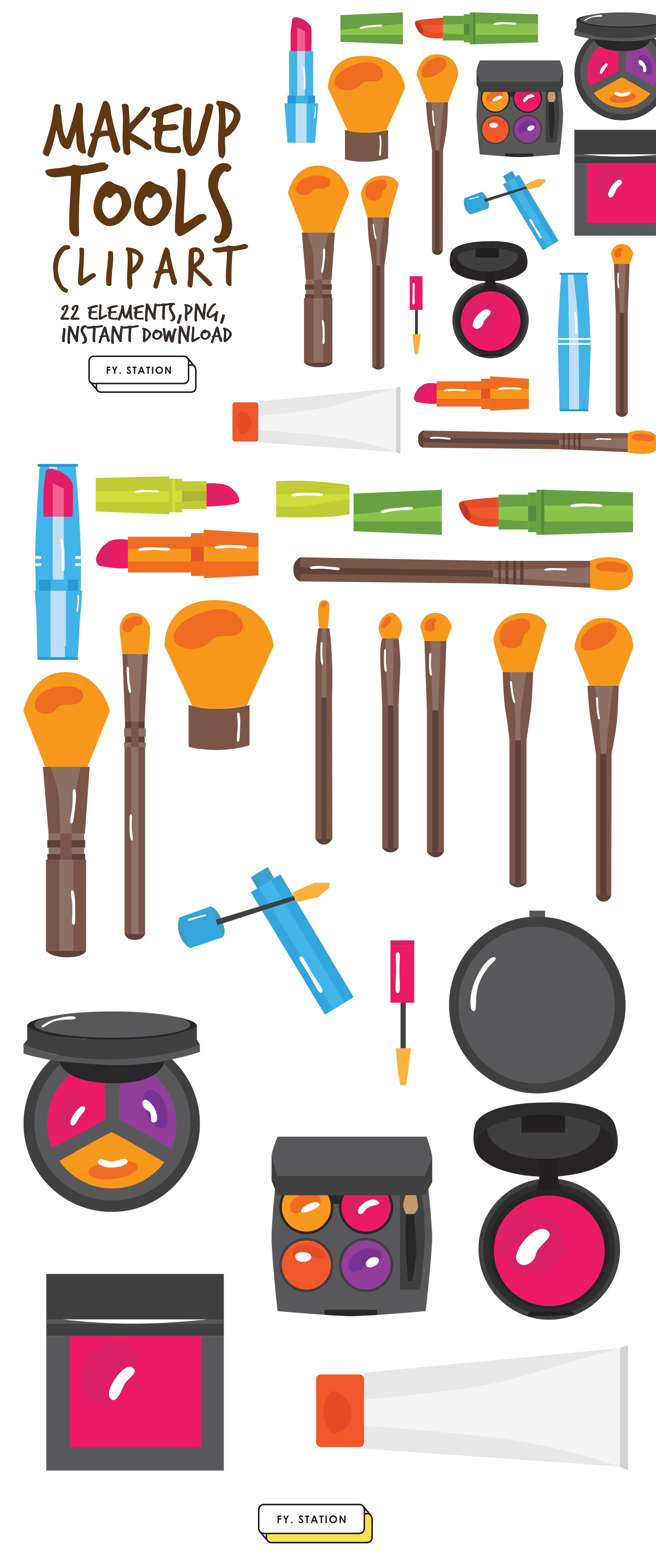Makeup Tools Clipart Pack 1 Diy Elements Illustration Printable Instant Download Diy Clip Art