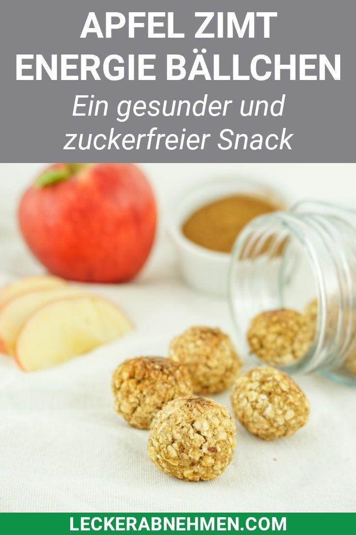 Apfel Zimt Energiebällchen - Gesunder und zuckerfreier Haferflocken Snack