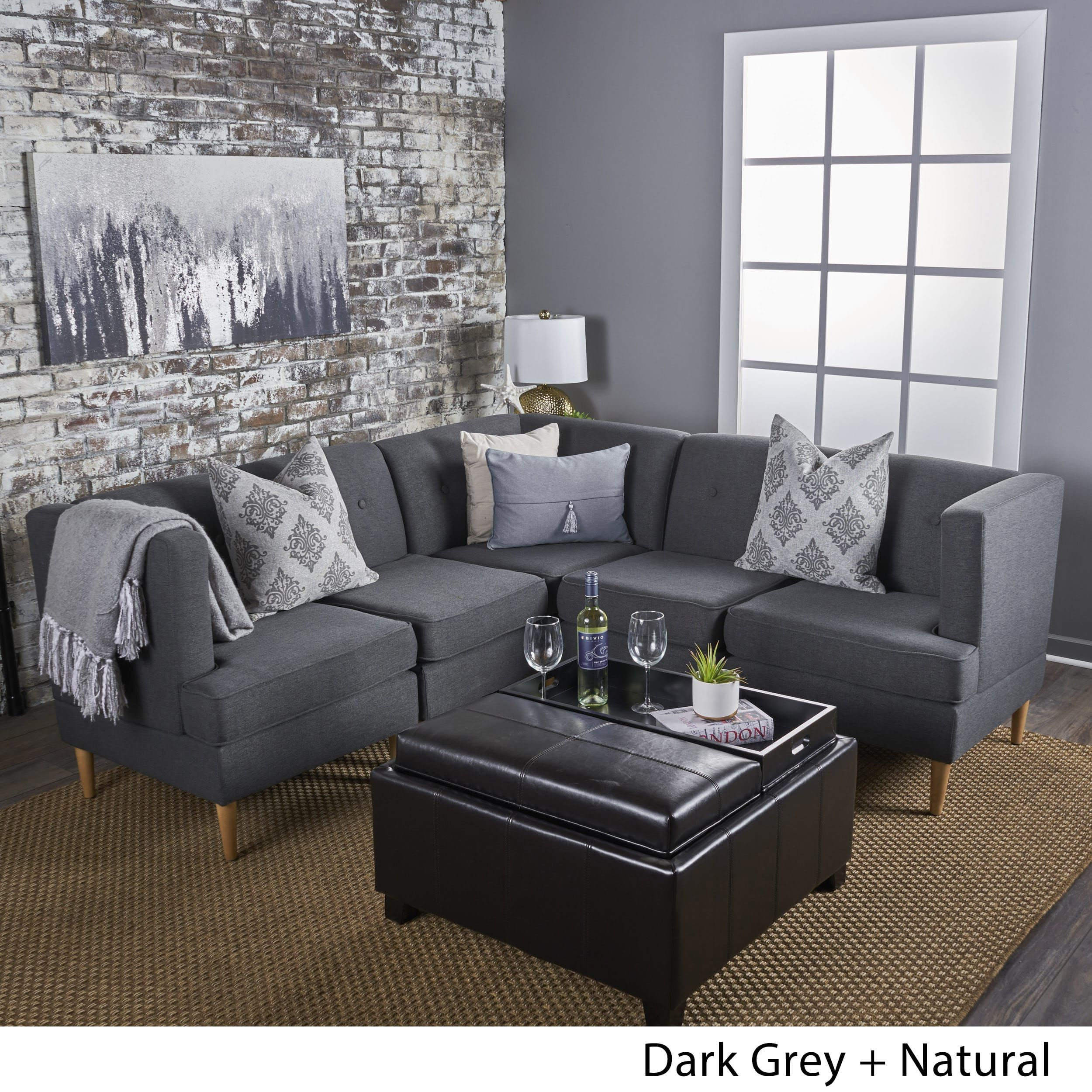 Astounding Milton Mid Century Modern 5 Piece Fabric Sectional Sofa Set Unemploymentrelief Wooden Chair Designs For Living Room Unemploymentrelieforg