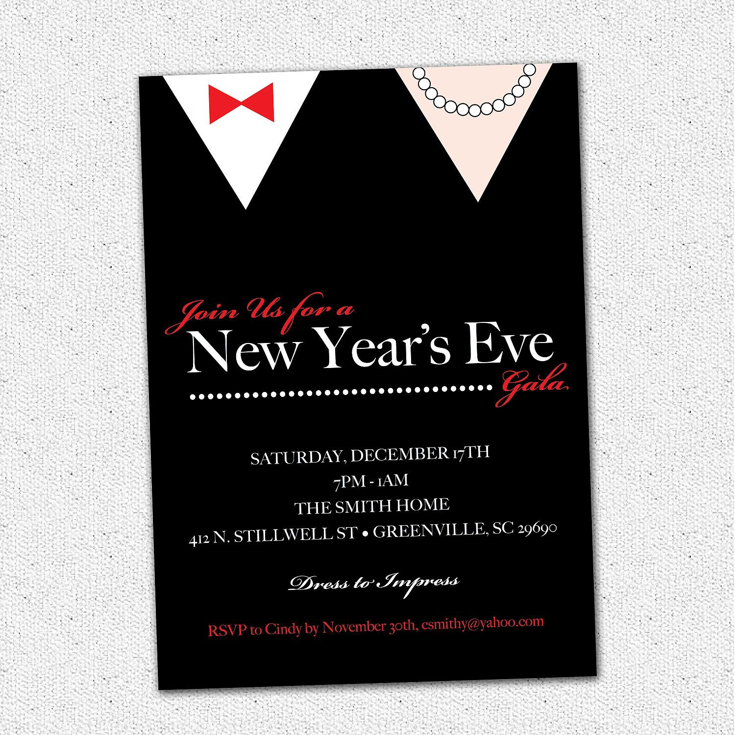 New Years Eve Gala Ball Celebration Bash Party Invitation Black Tie ...