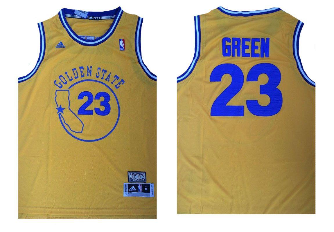Golden State Warriors  23 Green Yellow Throwback Men 2017 New Logo NBA  Adidas Jersey c06c7595d