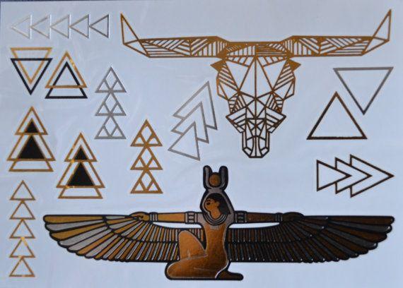 Photo of Items similar to Egyptian tattoo Bull head tattoo Metallic Tattoo flash tats Gold Jewelry temporary jewellery Foil tattoo geometrical tattoos triangle tats on Etsy