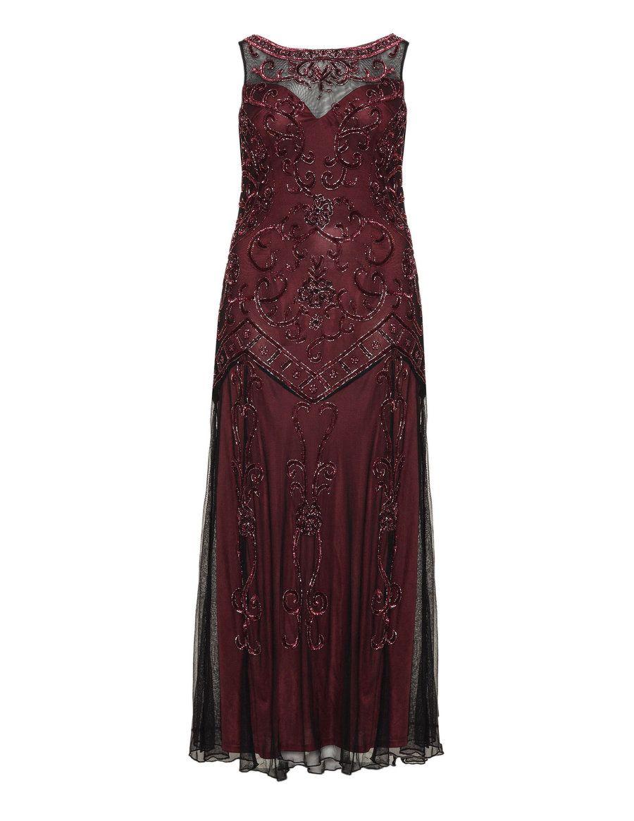 Ariella Abendkleid mit Pailletten in Bordeaux Rot / Schwarz ...