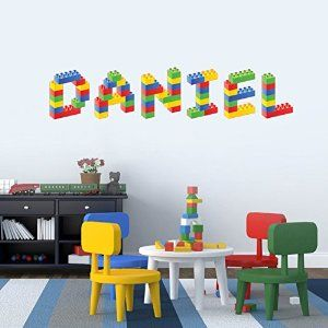 Personalised Name in Lego Blocks Childrenu0027s Bedroom Baby Nursery Wall Sticker Wall Decal Wall Art Vinyl & Personalised Name in Lego Blocks Childrenu0027s Bedroom Baby Nursery ...