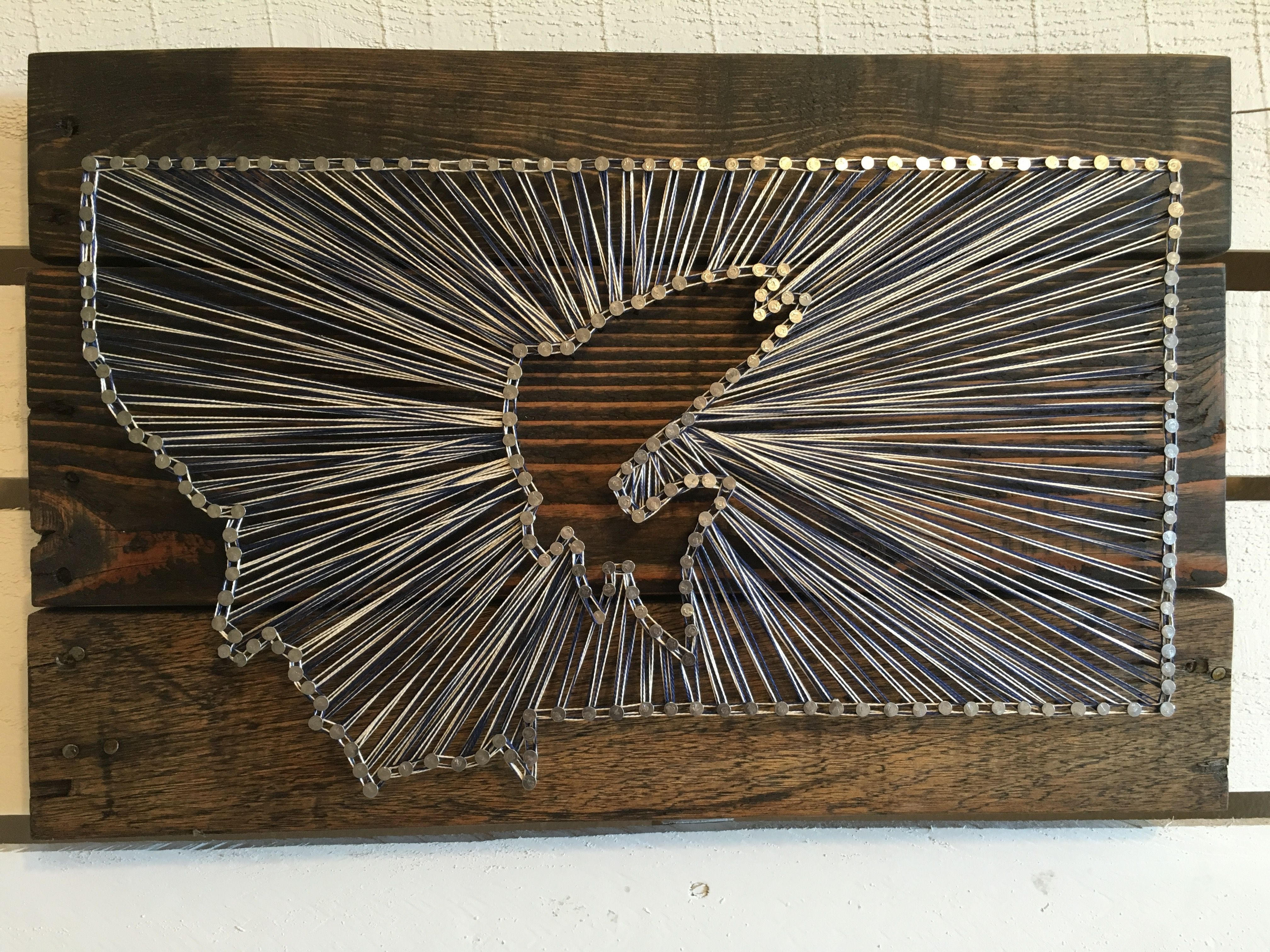 Montana fish string art pallet wood dark stain navy and for Fish string art