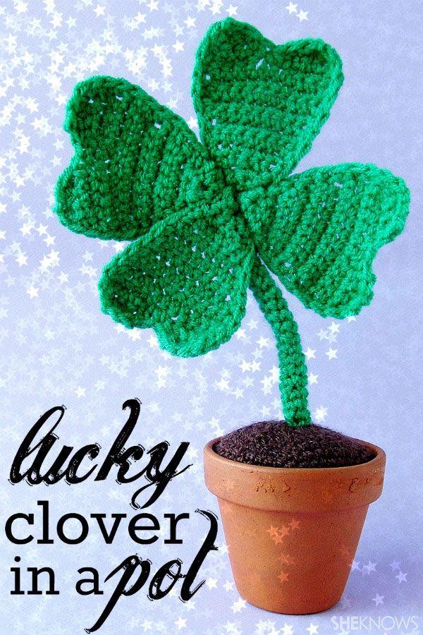 Four-leaf crocheted clover   Suerte, Hoja y Ganchillo