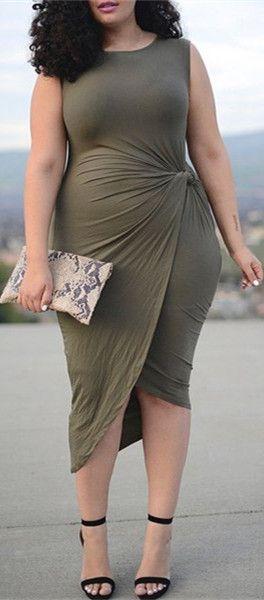 Asymmetric Wrap Pleated Plus Size Dress Outfits Fashion Styles