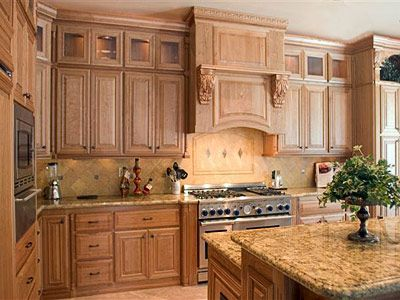 Cherry cabinets with natural finish view 2 two tiered for Cherry kitchen cabinets with glass doors