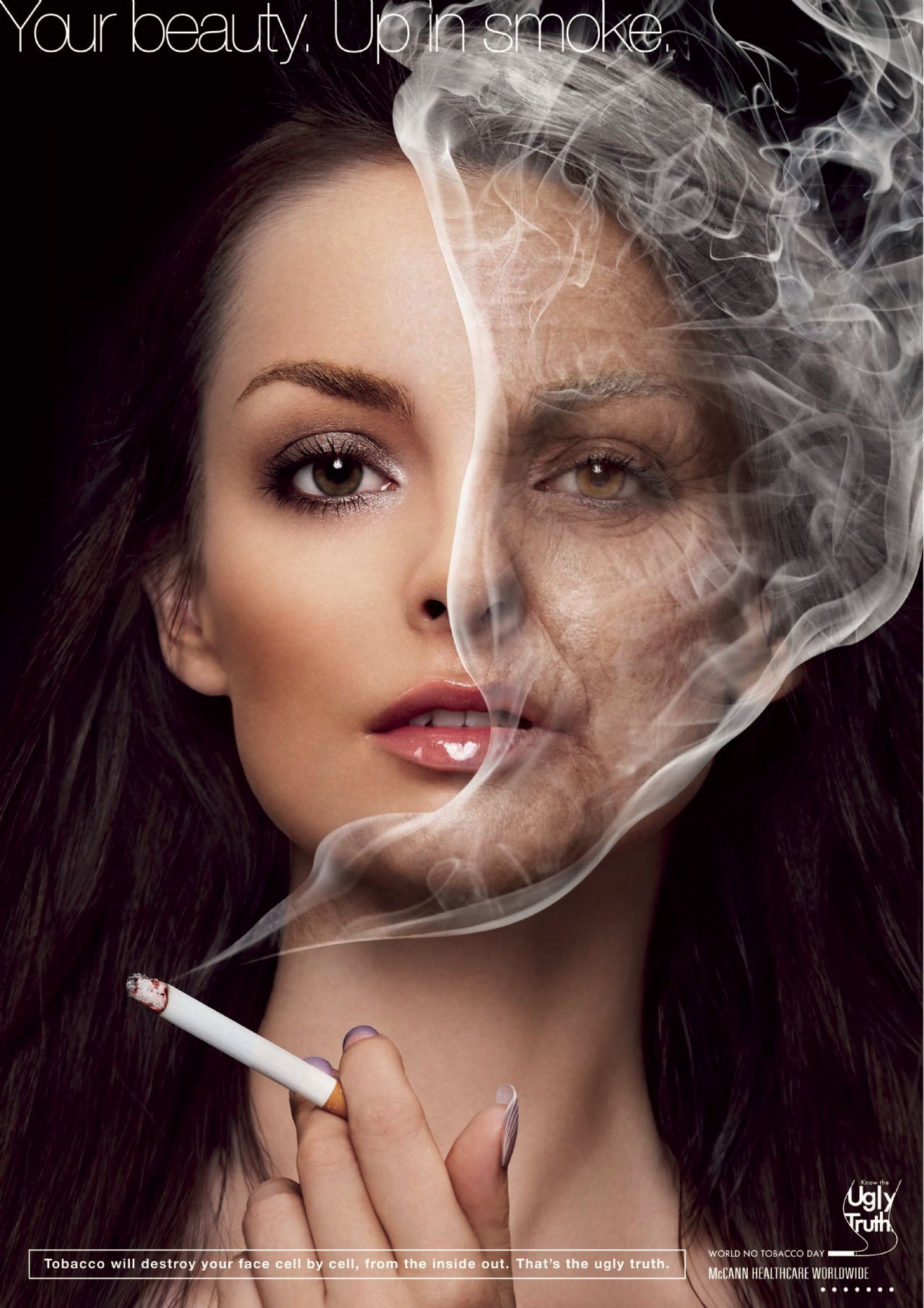 Clever use of the smoke effect, clear and direct design #advertisement