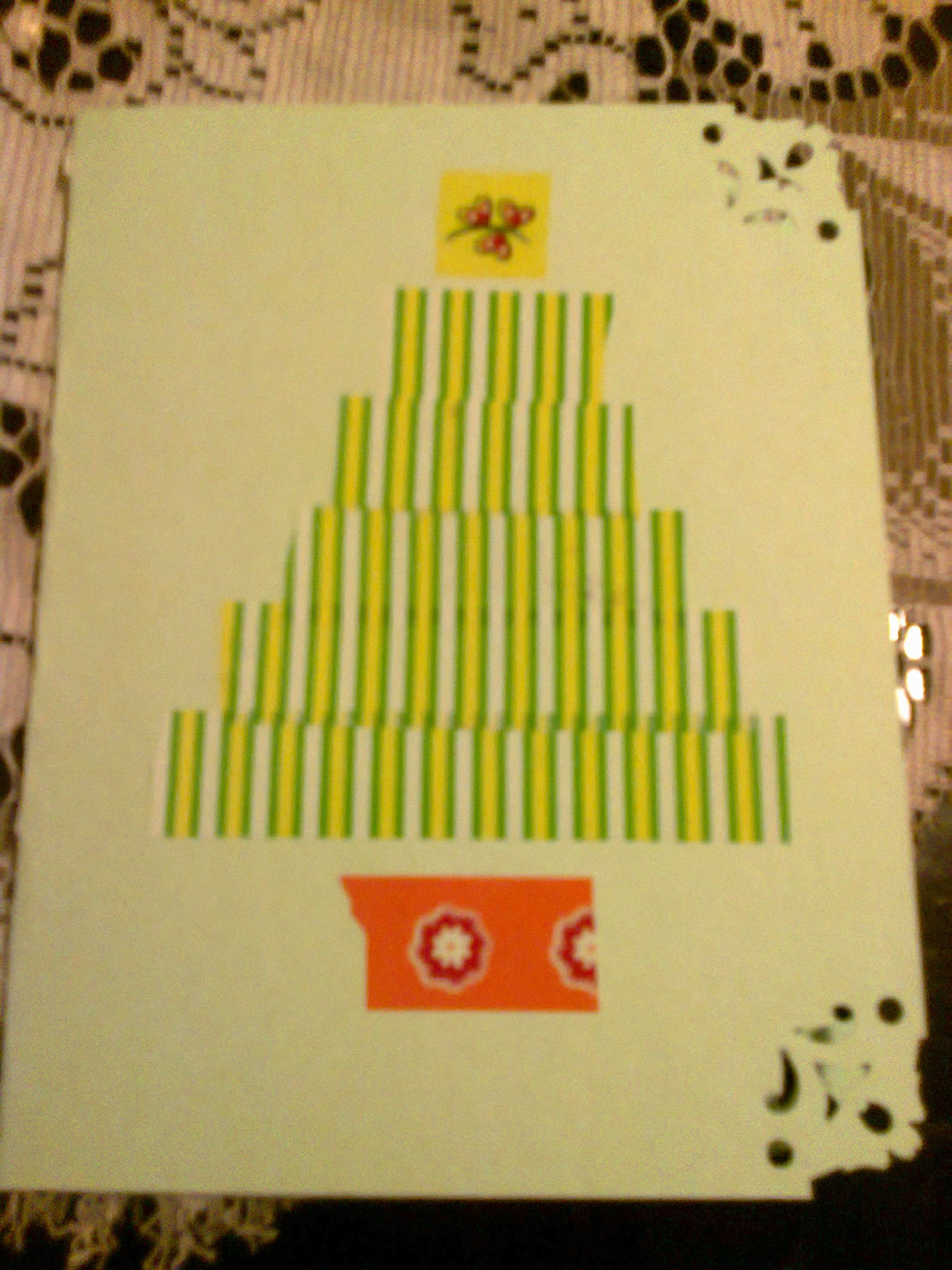 Christmas card with colored tape