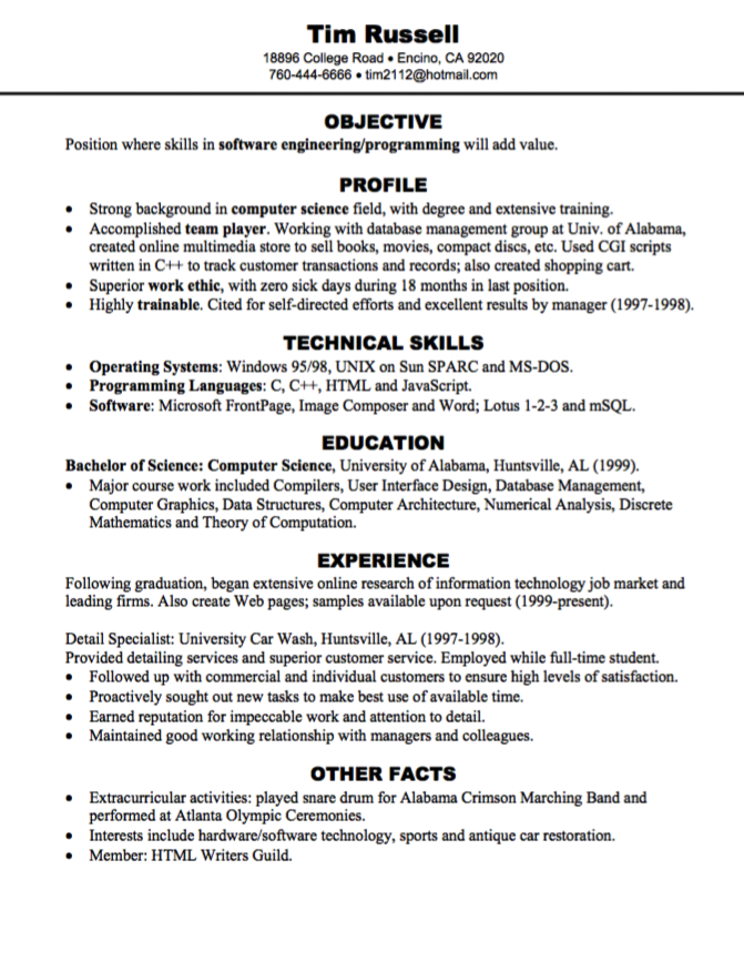 software engineering programming resume sample - http ...