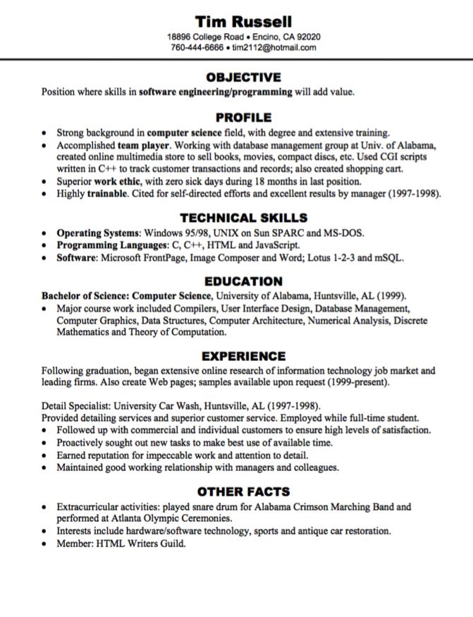 Software Engineering Programming Resume Sample Examples Resume Cv