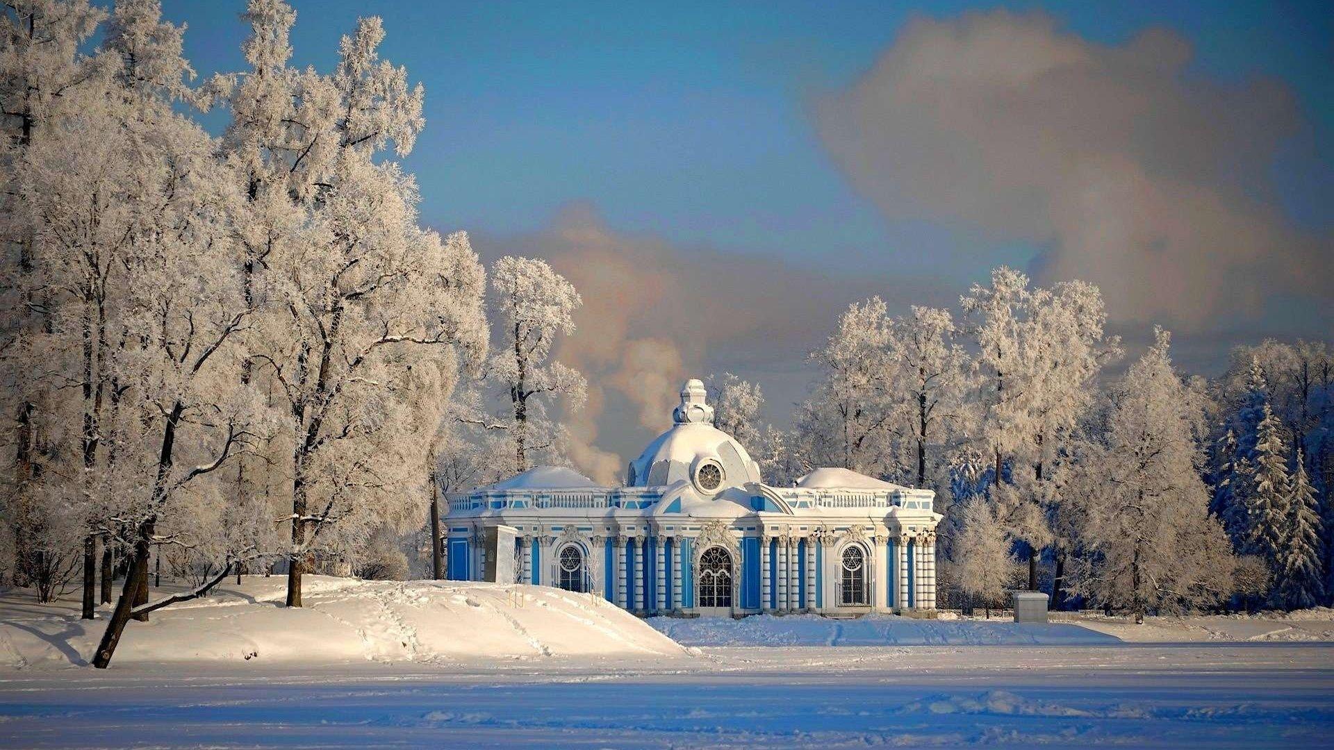 Houses St Petersburg Snow Winter Russia Buildings HD ...