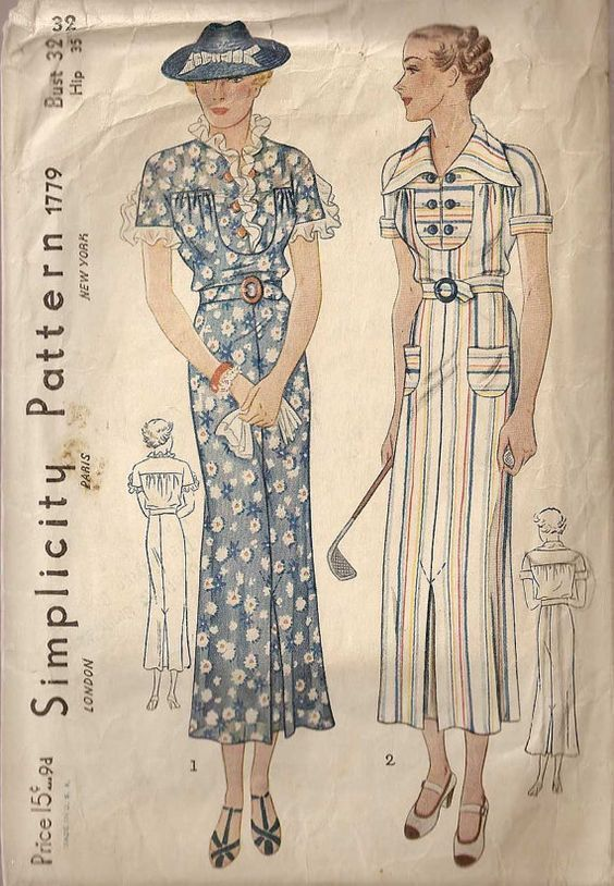 Vintage 1930s Simplicity 1779 NRA Dress Frock Pattern 38B | años 30 ...