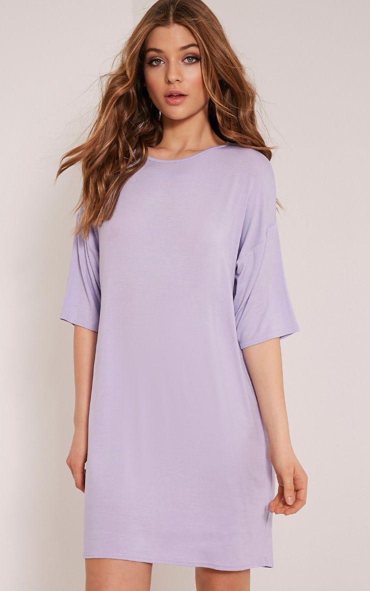 Basic Lilac Drop Shoulder T Shirt Dress   Oversized t shirt