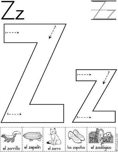letra z fichas del abecedario y el alfabeto para descargar