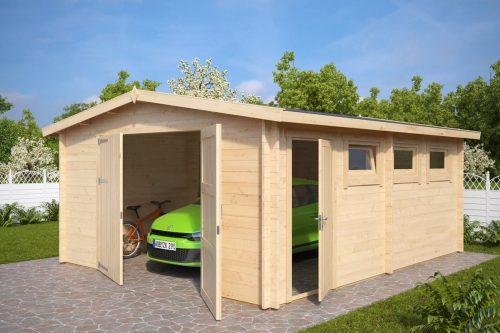 Grosse Holzgarage Hansa B Mit Doppeltur 44mm 4 5 X 6 Double Doors Garden Log Cabins Carport Garage