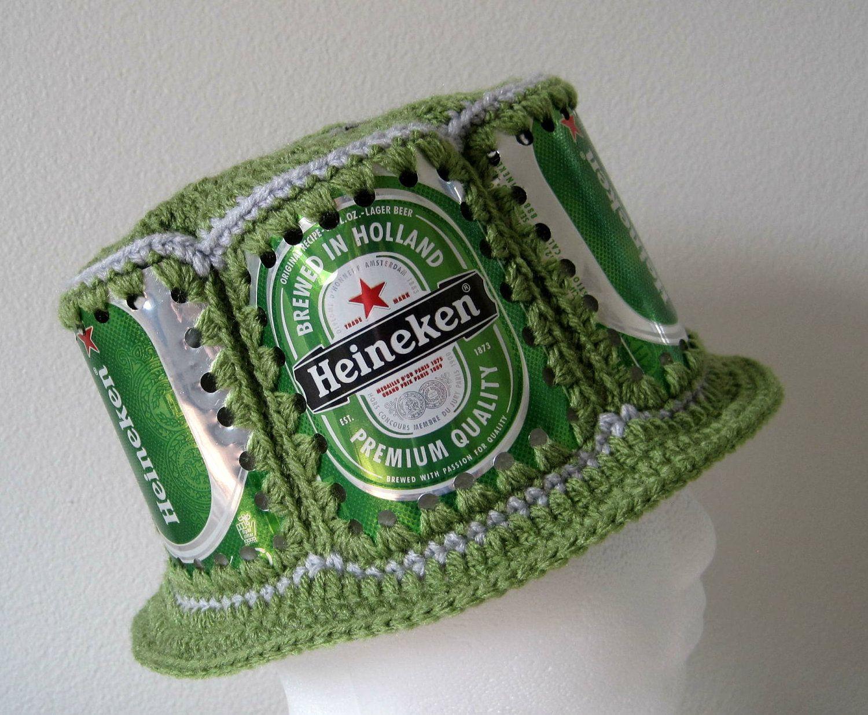 Crocheted Beer Can Hat - Heineken