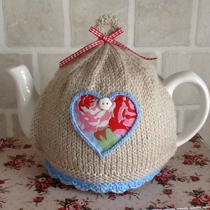 Hand Knitted Tea Cosy ~ Cath Kidston Rosali Blue Fabric Heart ~ 4-6 ...