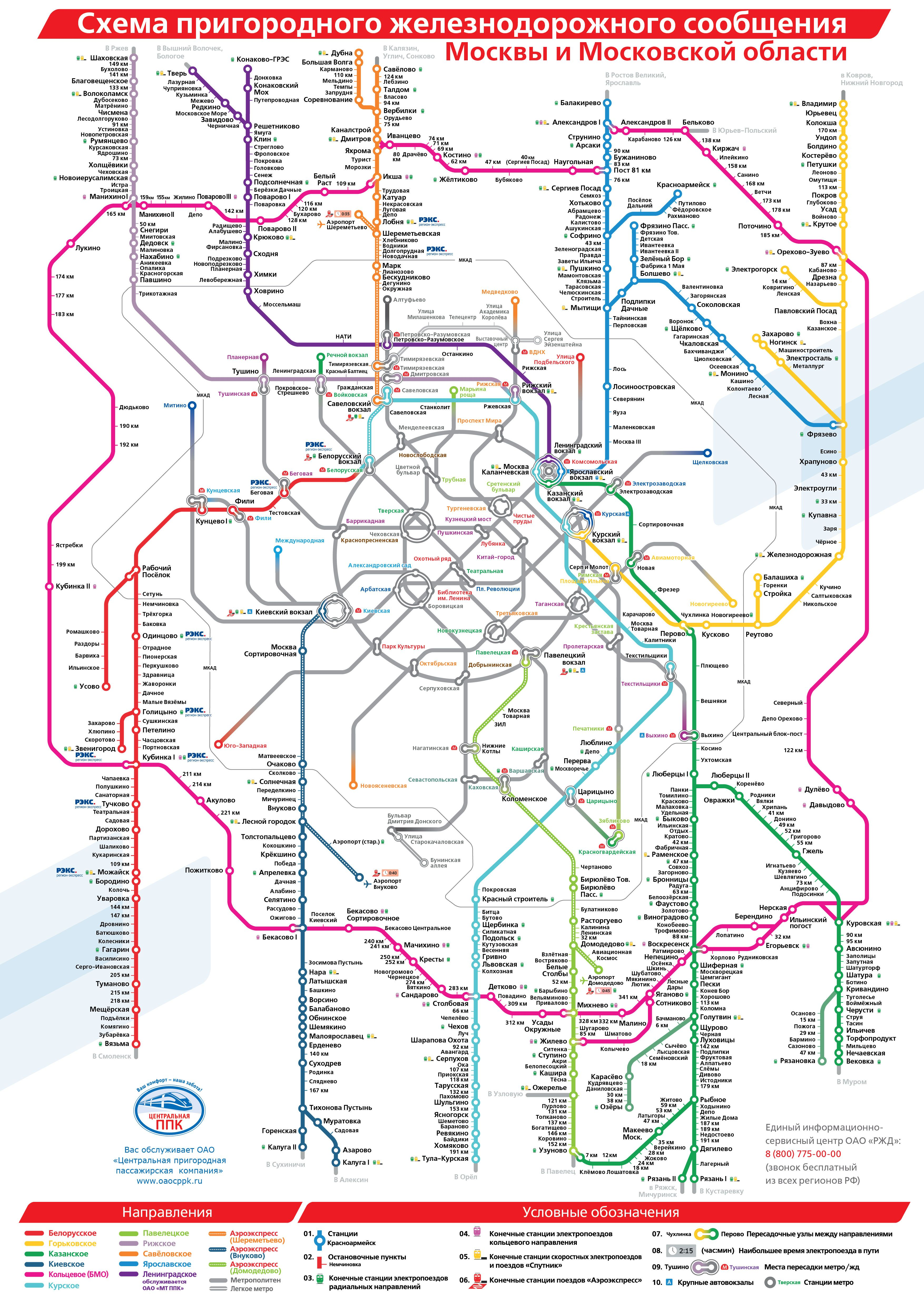 Схема пригородного транспорта Москвы и обРасти scheme navigation