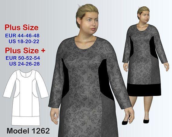 Plus size Dress Sewing Pattern PDF, Women\'s (sizes 18-28) , PDF ...