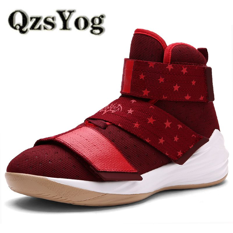 bbf36ad8c26 QzsYog Breathable Men Basketball Shoes High Top Sneakers Mesh Athletic  Outdoor Sports Trainers Basket Femme Women