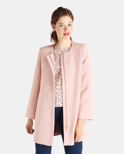 Abrigo de mujer Fórmula Joven rosa con cuello caja  c275e4698e77