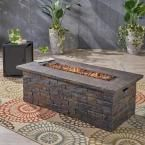 Photo of Noble House Deacon 56 in. x 18.75 in. Rectangular Concrete Propane Fire Pit in N…