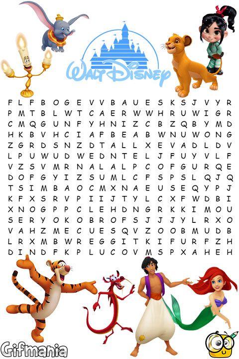 Sopa de Letras Disney | Gifig Pins | Pinterest | Disney