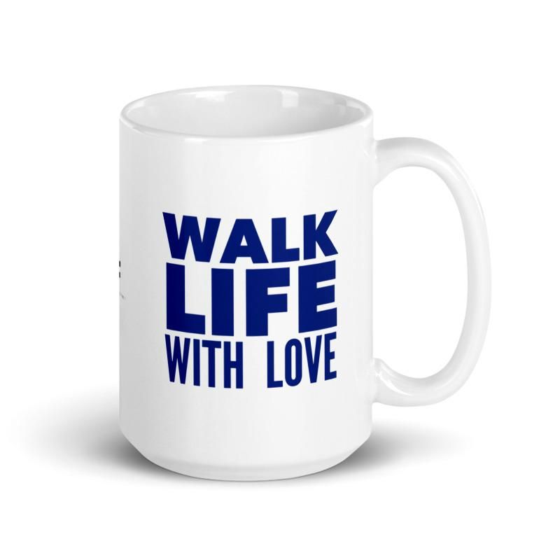 "🇺🇸 This stylish mug is perfect for shoes lovers who want to add a touch of fun to their morning coffee or afternoon tea. This white glossy cup features ""Amor Walk"" an original illustration by artist Roxana Frontini on one side, and the phrase ""Walk Life With Love"" in English on the other side. The sexy heel featured on this illustration is blue, with a pink heart and the word love written in spanish (amor). Keep reading to discover the message behind this illustration. Everything in our design"