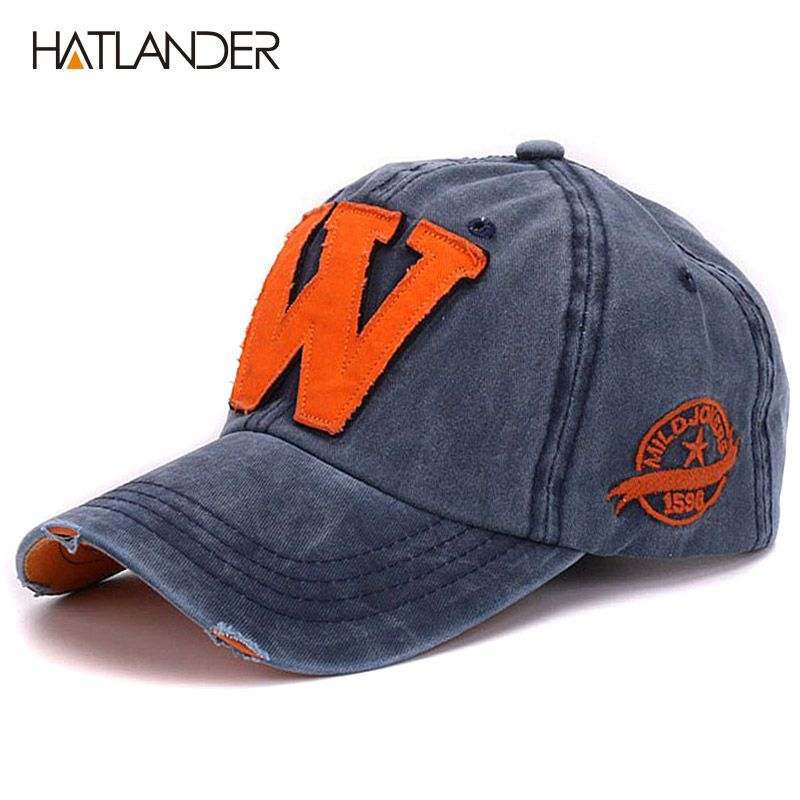 Hatlander cotton letter W Baseball Cap retro outdoor sports caps women bone  gorras curved fitted washed 3b343a1bc73b