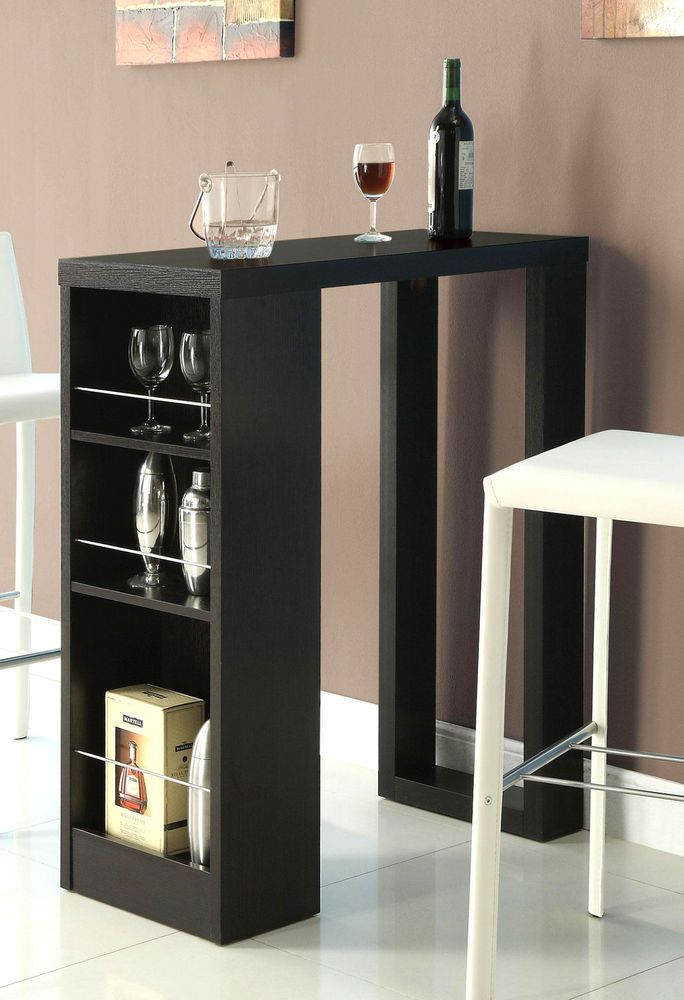 Cappuccino Finish Bar Table With Side Wine Rack With Space For 2