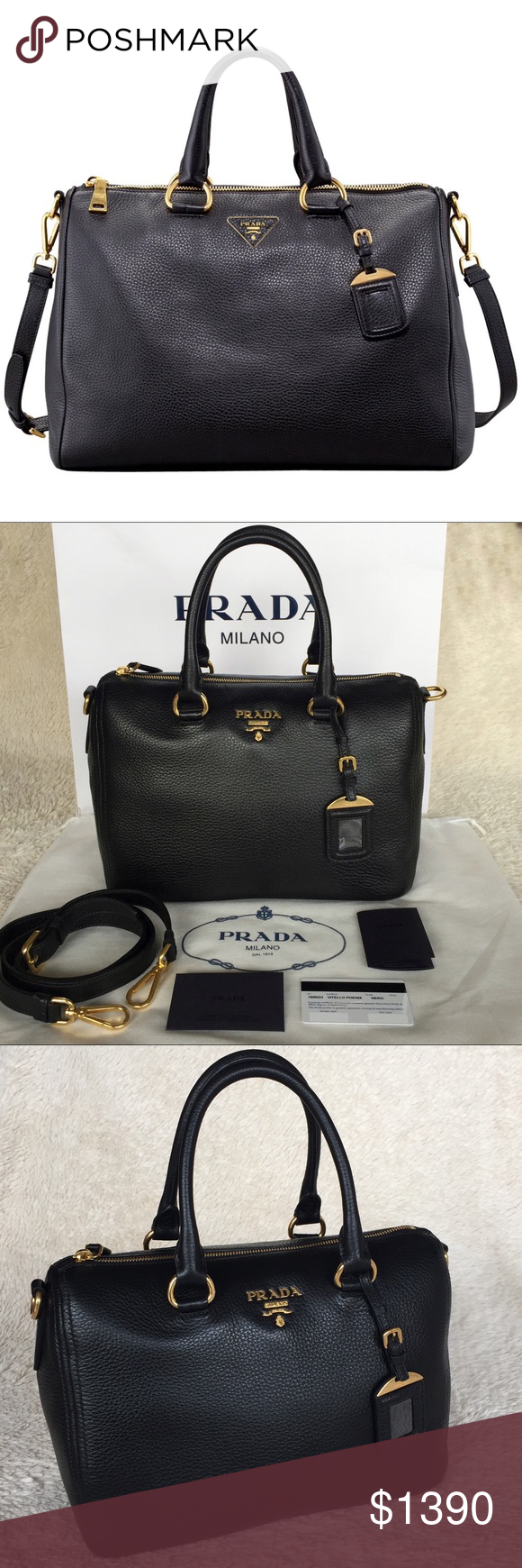 9c61e5164e ... inexpensive new prada vitello phenix bauletto 1bb023 authentic. brand  new with tags. this bag ...