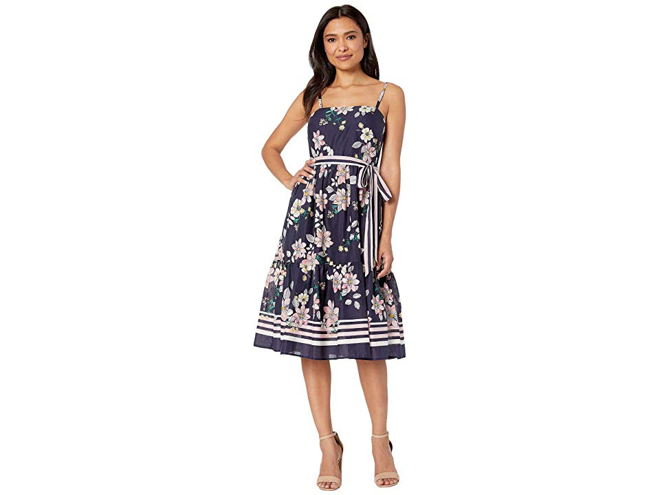 Vince Camuto Printed Cold Shoulder Maxi Dress With Ruffled