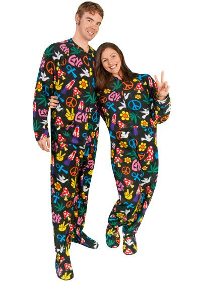 b71a0e7adb Peace Sign Fleece Adult Footed Pajamas with Drop Seat -  Limited Sizes
