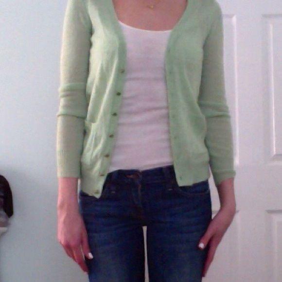 JCREW light wool cardigan in mint green, SIZE XXS | Wool cardigan ...